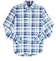 Ralph Lauren Mens Casual Shirt Blue Size Small S Button Down Plaid $89 #152
