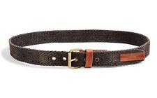Lucky Brand - Mens 40 - NWT$49 - Navy Chevron Woven & Brown Leather Grommet Belt