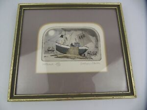 Limited Edition Network 109/ 150 Graham Clark Fishermen Signed Print Art Framed