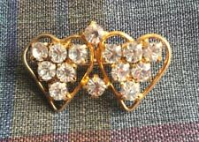 Beautiful Vintage Brooch Double Heart
