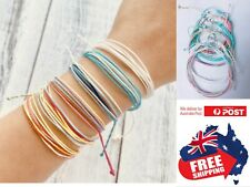 Adjust Women Color Braided Cord Hemp Bracelet Wristband Surfer BOHO 1 Set=6pcs