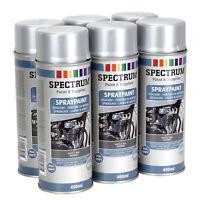 6 Bombes Peinture  ARGENT MAT Haute Température 800°Aérosol Auto Moto Moteur Pot