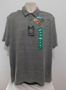 Mens GH Bass Polo Shirt Short Sleeve Active Size XL Gray Wicking NEW