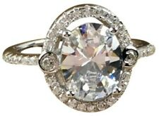 Certified 3.10Ct White Oval Cut Diamond 14K White Gold Engagement Lovely Ring