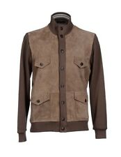 3,500$ Canali Brown Suede and Cotton Jacket Size XXL or EU 56 Made in Italy