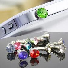 Hot 10 x Bling Diamond 3.5mm Earphone Anti Dust Plug Cap For Phone IPHONE 5 4 S