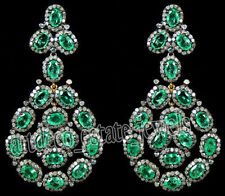 Look 925 Silver Dangler Earring 8.50cts Rose Cut Diamond Emerald Victorian
