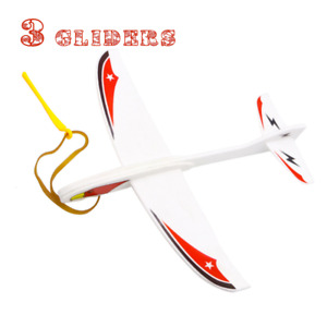 Foam Flyer Plane Glider Aircraft Flier Rubber Band and Hand-thrown - 3 Gliders