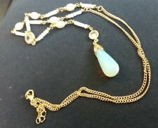 ❤️Necklace 9ct Yellow Gold Over Beads ❤️Fire Opal Diamond Gift UK FREE Postage❤️