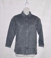 Joan Rivers Long Sleeve Faux Suede Boyfriend Shirt Size XS Charcoal