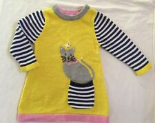 MINI BABY BODEN Girls 12-18 mon Yellow Gray Cat Bird Sweater Dress GREAT COND.