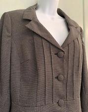 Ann Taylor Loft Size 14 Tweed 3 Button Blazer Jacket Long Cuff Sleeve Peplum Hem