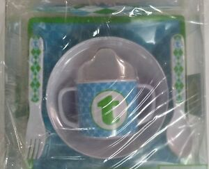 MUD PIE 5-PC BABY BOY INITIAL PLATE BOWL SIPPY CUP FORK & SPOON SET,INITIAL T