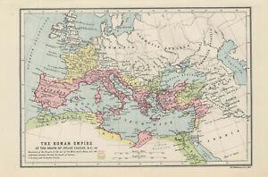 Antique Print - Map Showing The Roman Empire At Death Of Julius Caesar BC 44