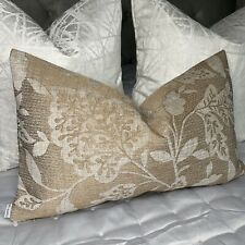 "Beautiful Cushion Cover 12""x20"" Designer Fabric, Gold & Bronze Decor Embroidery"