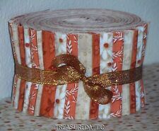 """Jelly Roll Strips 20~2.5""""Quilting Fabric Rust Burnt Orange Cream Off White Quilt"""