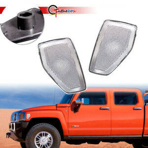 For 2006-2010 HUMMER H3, H3T Clear Lens Front Side Marker Light Housings Covers