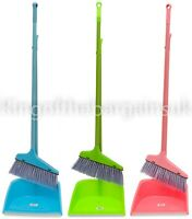 Long Handled Dustpan and Brush Set Large Strong Sweep Clean Soft Nylon Bristles