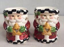 "Set of 2 Santa Claus Figurines Tea Light Burners 4""Tall by 3 1/2"" Wide"