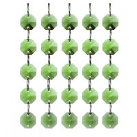 5PCS Green Glass Crystal Octagon Beads Curtain Chandelier Lamp Prisms Decor 14MM