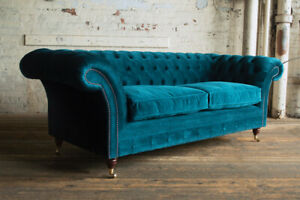 Handmade 3 Seater Plush Dark Teal Blue Velvet Chesterfield Sofa, Fabric Couch