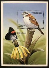 TANZANIA BIRD STAMPS SS 2000 MNH SPARROW BIRDS BUTTERFLY WILDLIFE FAUNA INSECT