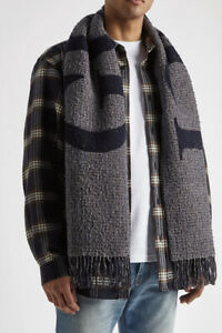 Gucci Checked logo-intarsia wool-blend scarf in grey and navy - RRP £315