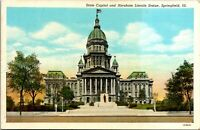 Vintage 1920's State Capitol and Abraham Lincoln Statue, Illinois IL Postcard c
