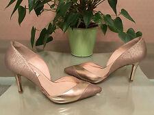 Ladies L.K.Bennett gold leather & textile court shoes leather soles UK 4 EU 37