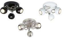 Modern Round 3 Way Eyeball Black White or Satin Ceiling GU10 Spotlight Lights