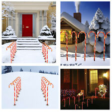 10X LED Lights Christmas Cane Candy Pathway Marker Yard Lawn Garden Xmas Decor