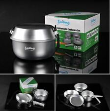 New 5pc Aluminum Outdoor Camping Hiking Picnic Cookware Bowl Pan Pot Cooking Set
