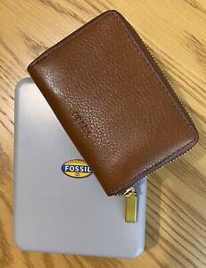 FOSSIL RFID Card Case Wallet Purse 100% Genuine Leather Unisex UNUSED + Gift Tin