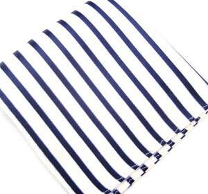 """US Seller New 10"""" 100% Silk Woven Pocket Square White Navy Striper-25"""