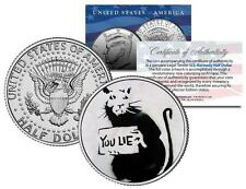 BANKSY * YOU LIE RAT * Colorized JFK Half Dollar U.S. Coin Street Art Stencil