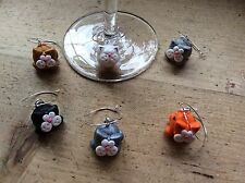 Wine glas Charms 6 Cat Wine Glass Cat Lover Dinner Party Birthday gift ideas