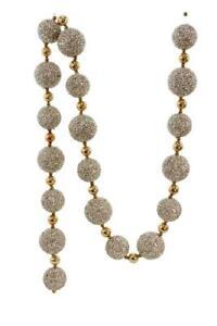 Beaded Silver and Shiny Gold Balls 6 Feet Long Christmas Garland