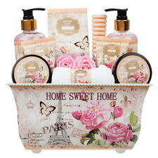 10 Piece Ladies Stylish Chic British Rose Body & Bath Spa Gift Set Metal Box