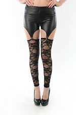 SEXY  LACE FAUX LEATHER SUSPENDER LINGERIE STYLE GARTER LEGGING
