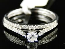 New 10K White Gold Ladies Bridal Engagement Wedding Band Diamond Ring Duo Set