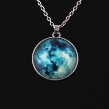 Full Fluorescent Rising Moon Pendant Necklace Glow In The Dark Luminous Chain