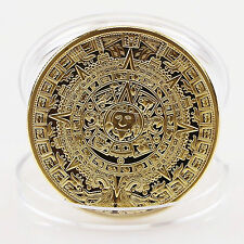 1Pc Gold Commemorative Coin  Plated Mayan Aztec Collection Gift