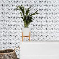 White black Gray silver metallic Wallpaper Polka dot textured wallcoverings roll