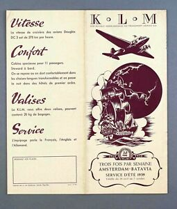 KLM ROYAL DUTCH AIRLINES INDIA FAR EAST TIMETABLE SUMMER 1939 CUTAWAY FRENCH