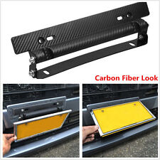 Carbon Fiber Style Adjustable Number Car License Plate Frame Holder Car Racing