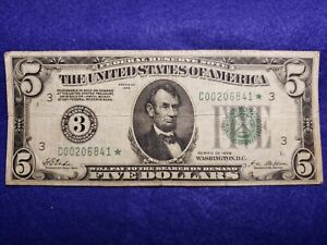 1928 $5 FRN GRN SEAL REDEEMABLE IN GOLD SEAL 3 L@@K VG PHIL STAR ⭐ NOTE