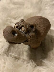 House Hippo Cross Eyed Hand Carved FeelsLike Stone (hvy Clay??) Figure By ARTIST