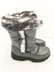 New Kids Snow Fun Grey Metallic Insulated Mid Calf Length Snow Boots UK Sizes