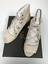 J. Crew Women's Laila Lace Up Suede Wedges Beige Open Toe Shoes Size 7.5