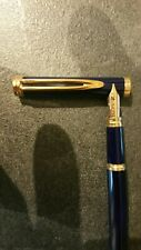 Stylo Waterman Idéal Gentleman Laqué Bleu Plume Or 18 Carats Fountain Pen